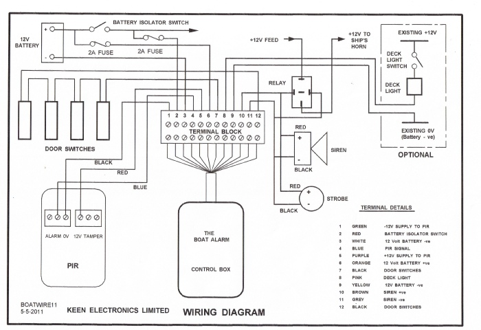 boat alarm installation rh keenelectronics co uk wiring diagram for alamo side mower wiring diagram for alarm bell box