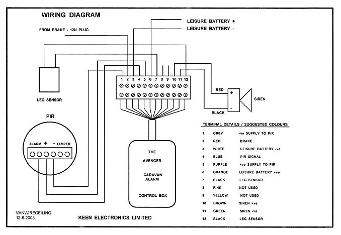 wiring diagram for alarm pir